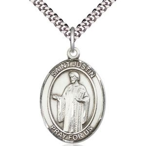 Sterling Silver St Justin Pendant